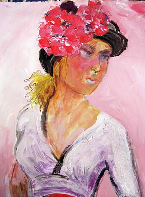 Painting - Girl With Hat by Sally Fraser