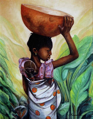 Girl With Her Doll Art Print by Marcella Muhammad
