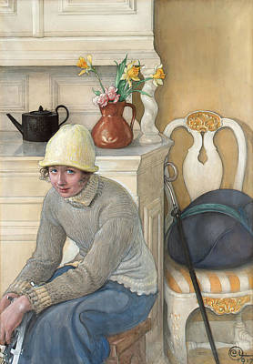 Girl With Ice Skates Print by Carl Larsson