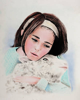 Pastel - Girl With Lamb by Paul Cubeta