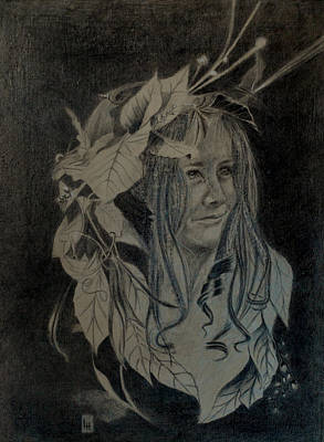 Drawing - Girl With Leaf Headdress  by Lynn Hughes