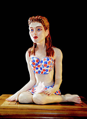 Modeling Clay Sculpture - Girl With Lotus 1 by Yelena Rubin