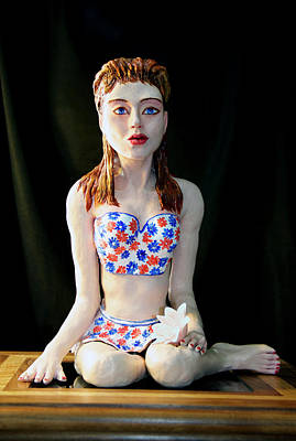 Clay Modeling Sculpture - Girl With Lotus 2 by Yelena Rubin