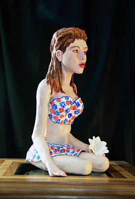 Clay Modeling Sculpture - Girl With Lotus 3 by Yelena Rubin