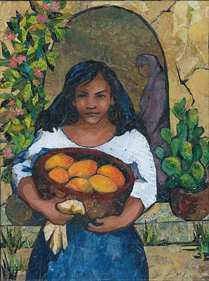 Girl With Mangoes Art Print by Barbara Nye