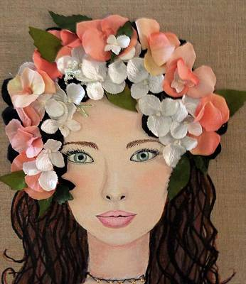 Girl With Peaches Painting - Girl With Peach Flowers by Katy Auna