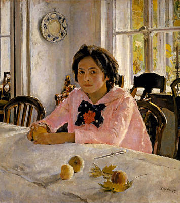 Girl With Peaches Painting - Girl With Peaches. Portrait Of V.s. Mamontova by Valentin Alexandrovich Serov