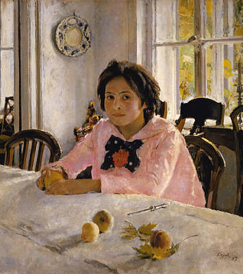Girl With Peaches Painting - Girl With Peaches. Portrait Of V.s.mamontova  by Valentin Serov