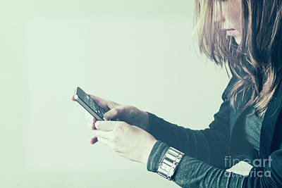Iphone4 Photograph - Girl With Phone by Patricia Hofmeester