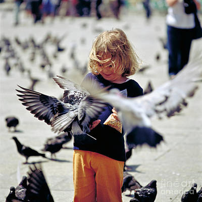 Girl With Pigeons Art Print by Heiko Koehrer-Wagner