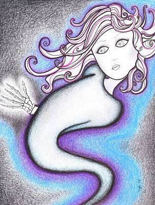 Swirly Drawing - Girl With Pink Hair by Megan Stone