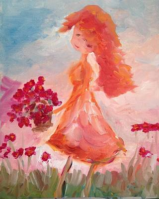 Impressionism Painting - Girl With Poppies by Roxy Rich