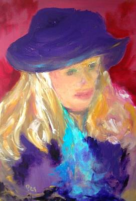 Painting - Girl With Purple Hat by Patricia Taylor