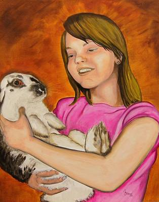 Girl With Rabbit Art Print by John Stevens