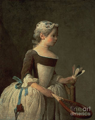 Girls Painting - Girl With Racket And Shuttlecock by Jean-Baptiste Simeon Chardin