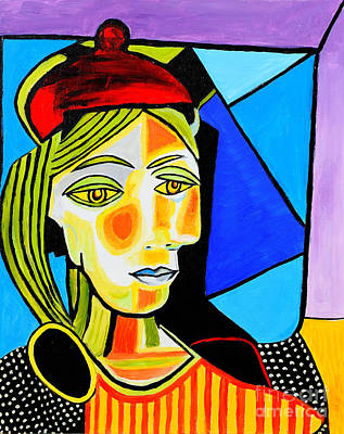Picasso Style Painting - Girl With Red Beret by Art by Danielle