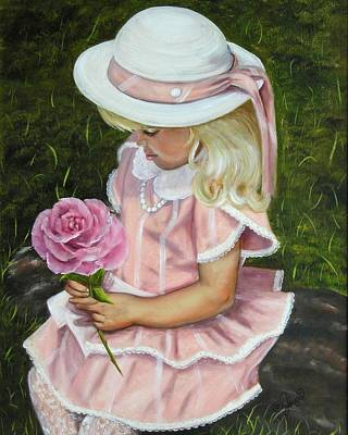 Girl With Rose Print by Joni McPherson