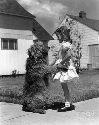 Pet Care Photograph - Girl With Shaggy Dog, C.1950s by H. Armstrong Roberts/ClassicStock