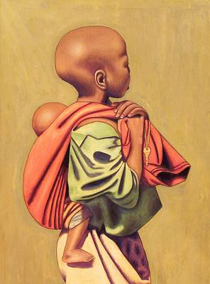 African Child Painting - Girl With Sibling by Nisty Wizy