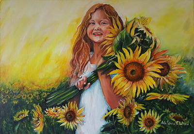 Painting - Girl With Sunflowers by Rita Fetisov