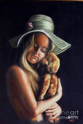Girl With Teddy Art Print