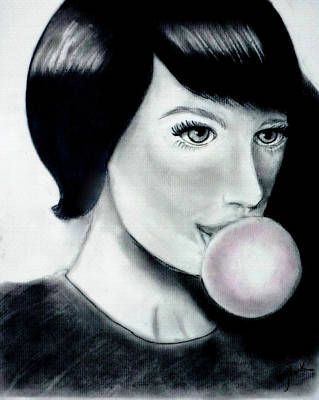 Drawing - Girl With The Bubble Gum by Katy Hawk