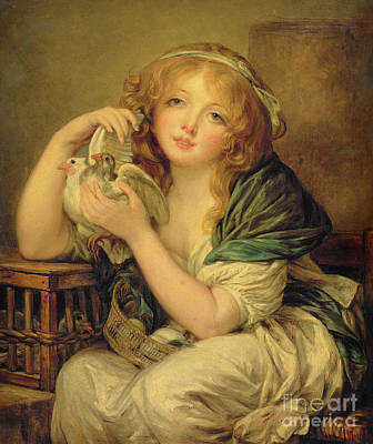 Girl With The Doves Art Print