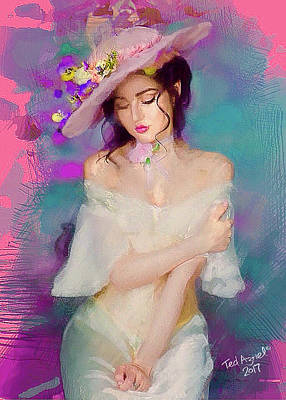 Digital Art - Girl With The Floral Hat by Ted Azriel