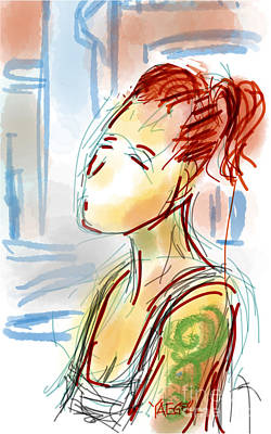 Loose Style Digital Art - Girl With The Green Tattoo by Robert Yaeger