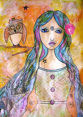 Drawing - Girl With The Owl  by Riana Van Staden