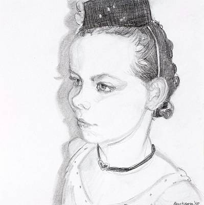 Graduation Gift Drawing - Girl With The Pill Box Hat by Debbie Beukema