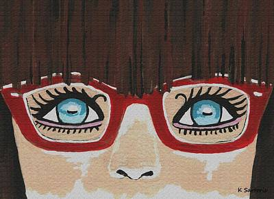 Art Print featuring the painting Girl With The Red Glasses by Kathleen Sartoris