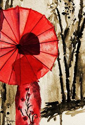 Painting - Girl With The Red Umbrella  by Andrea Realpe