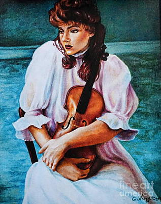Women Painting - Girl With The Violin by Georgia's Art Brush
