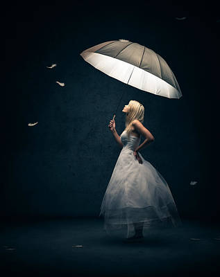 Girl With Umbrella And Falling Feathers Art Print by Johan Swanepoel