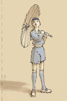 Umbrellas Digital Art - Girl With Umbrella by H James Hoff