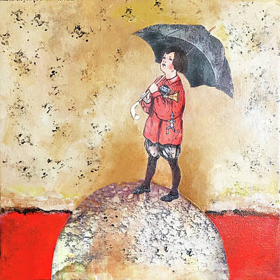 Mixed Media - Girl With Umbrella by Judy Tolley