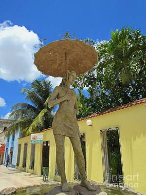 Girl With Umbrella Sculpture Original by John Malone