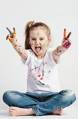 Photograph - Girl With Victory Sign Sticking Out Her Tounge by Michal Bednarek