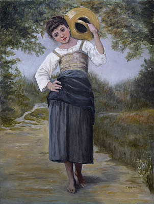 Girl With Water Jug Art Print by Sandra Nardone