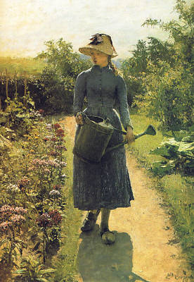 Painting - Girl With Watering Can by Evariste Carpentier