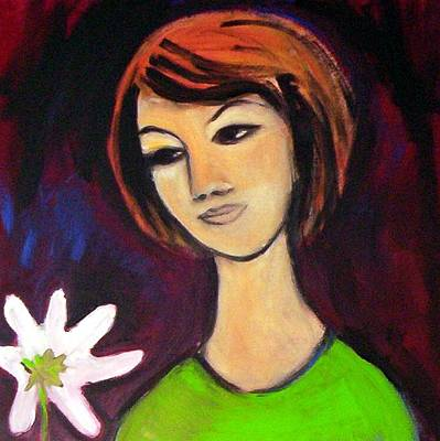 Art Print featuring the painting Girl With White Flower by Winsome Gunning