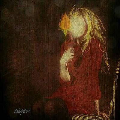 Digital Art - Girl With Yellow Flower by Delight Worthyn