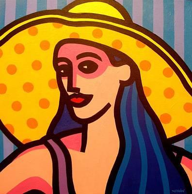 Girl With Yellow Hat Art Print by John  Nolan