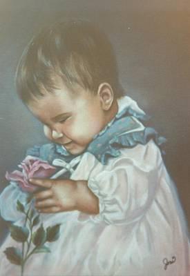 Painting - Girli Holding Rose by Joni McPherson