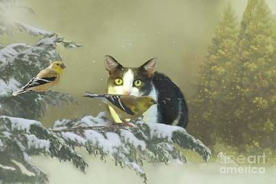 Digital Art - Girlie With The Goldfinches by Janette Boyd