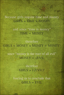 Parody Mixed Media - Girls Are Evil Proof Formula Math Humor Nerd Art Poster by Design Turnpike