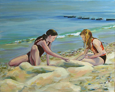 Painting - Girls At Oak Bluffs by Trina Teele