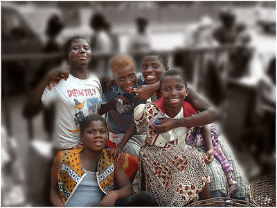 Photograph - Girls At The Marketplace Ghana by Wayne King