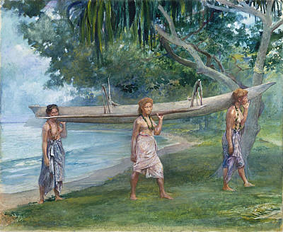 Painting - Girls Carrying A Canoe. Vaiala In Samoa by John LaFarge
